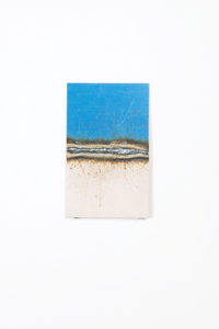 Only weld through paint if you have no other choice: Get it hot | Nicola Ellis | 2015 | mild steel sheet, mild steel weld, gloss paint | 25cm x 15cm x 0.3cm | image: Stephen Iles Photography