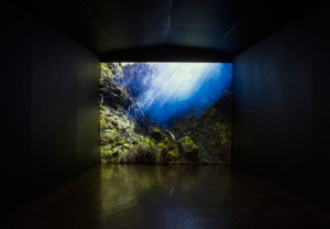 Ray | David Ogle, 2015 | blue smokepyrotechnics landscape installation (high resolution digital video installation: 5min00sec) | installation view: Bury Art Museum, 2016 | part of Loomings: produced by: Mark Devereux Projects, videography by: Andrew Brooks image: Andrew Brooks