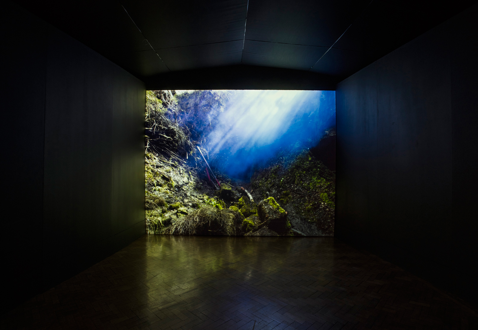 Ray | David Ogle, 2015 | blue smoke pyrotechnics landscape installation (high resolution digital video installation: 5min00sec) | installation view: Bury Art Museum, 2016 | part of Loomings: produced by: Mark Devereux Projects, videography by: Andrew Brooks image: Andrew Brooks