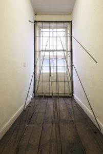 You're barred | Nicola Ellis | 2015 | installation view: &Model Gallery, Leeds | mild steel box section, 8mm mild steel round bar, mild steel couplers | dimensions variable | image: Stephen Iles Photography