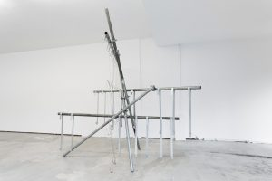 Strips and poles | 2017 | Scaffolding and hand bent mild steel | 304 x 340 x 320cm | Dimensions variable | Installation at ICW Blackpool | Image: Jules Lister