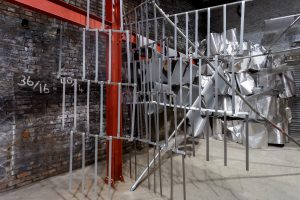 Units | 2017 | Mild steel and Aluminium | Site responsive installation at AIR Gallery, Altrincham | 5m x 5m x 7m approx | Image: Jules Lister