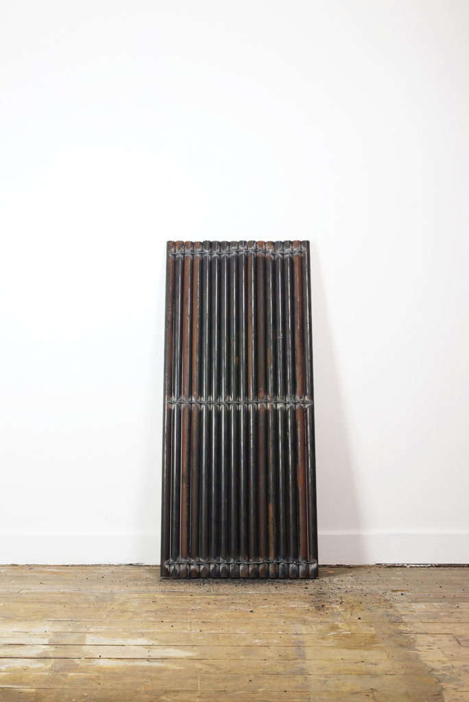 Nicola Ellis | 2015 | oil pipes, mild steel weld | 154cm 72cm x 5cm | image: Stephen Iles Photography