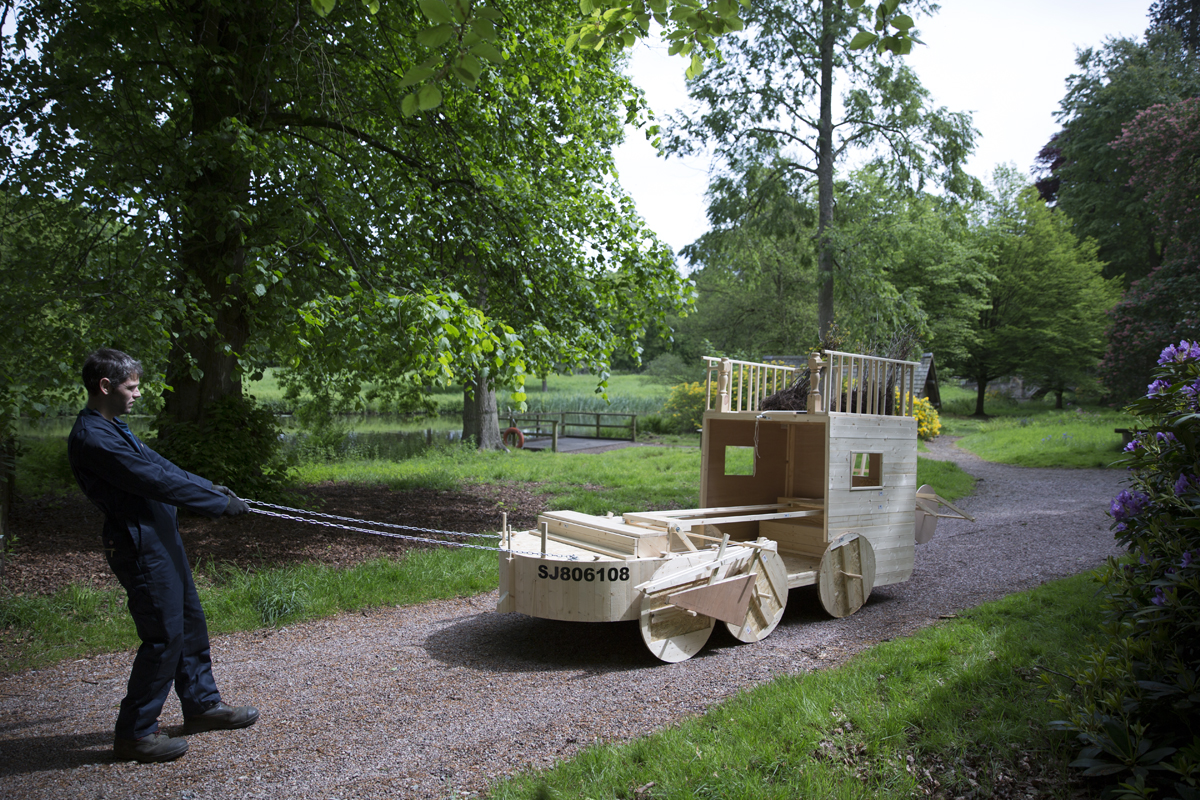 Contraption: After Telford and Brown (Carriage, Plough, Boat, and Harrow) | David Bethell | 2017 | performance | commissioned by: Meadow Arts | image: Glen Stoker