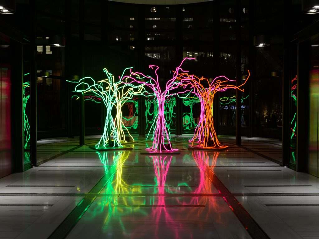 Lumen | David Ogle, 2016 | neon flex, welded steel | installation view: Exchange House, Broadgate, London, UK, 2017 | image: Axel Drury