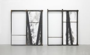 Derailer-steel | Amy & Oliver Thomas-Irvine, 2015 | sheetrock, Bideford black pigment, framed floor from live obstacle course | 66.5 x 104.5 x 3.5 inches | image courtesy of the artists