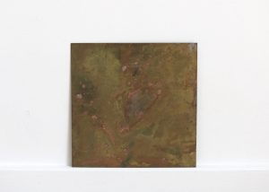 Scrap   Charlie Franklin, 2018   oil, watercolour, ink on brass plate   19cm x 19cm   image: courtesy of the artist