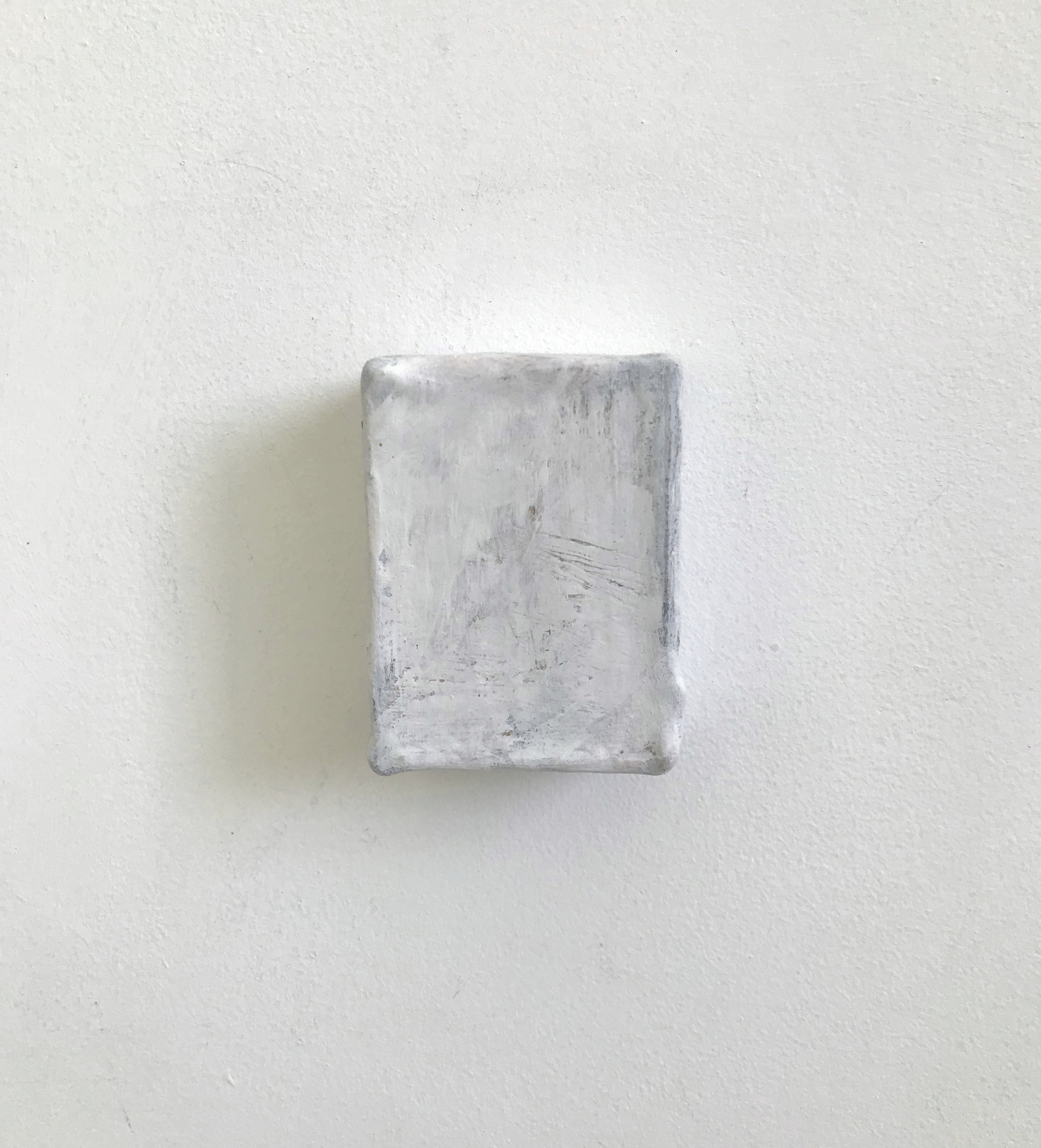 White Out | Charlie Franklin, 2018 | oil, chalk paint, metallic paint, gesso, cardboard | 8.5cm x 6.5cm x 4cm | image: courtesy of the artist