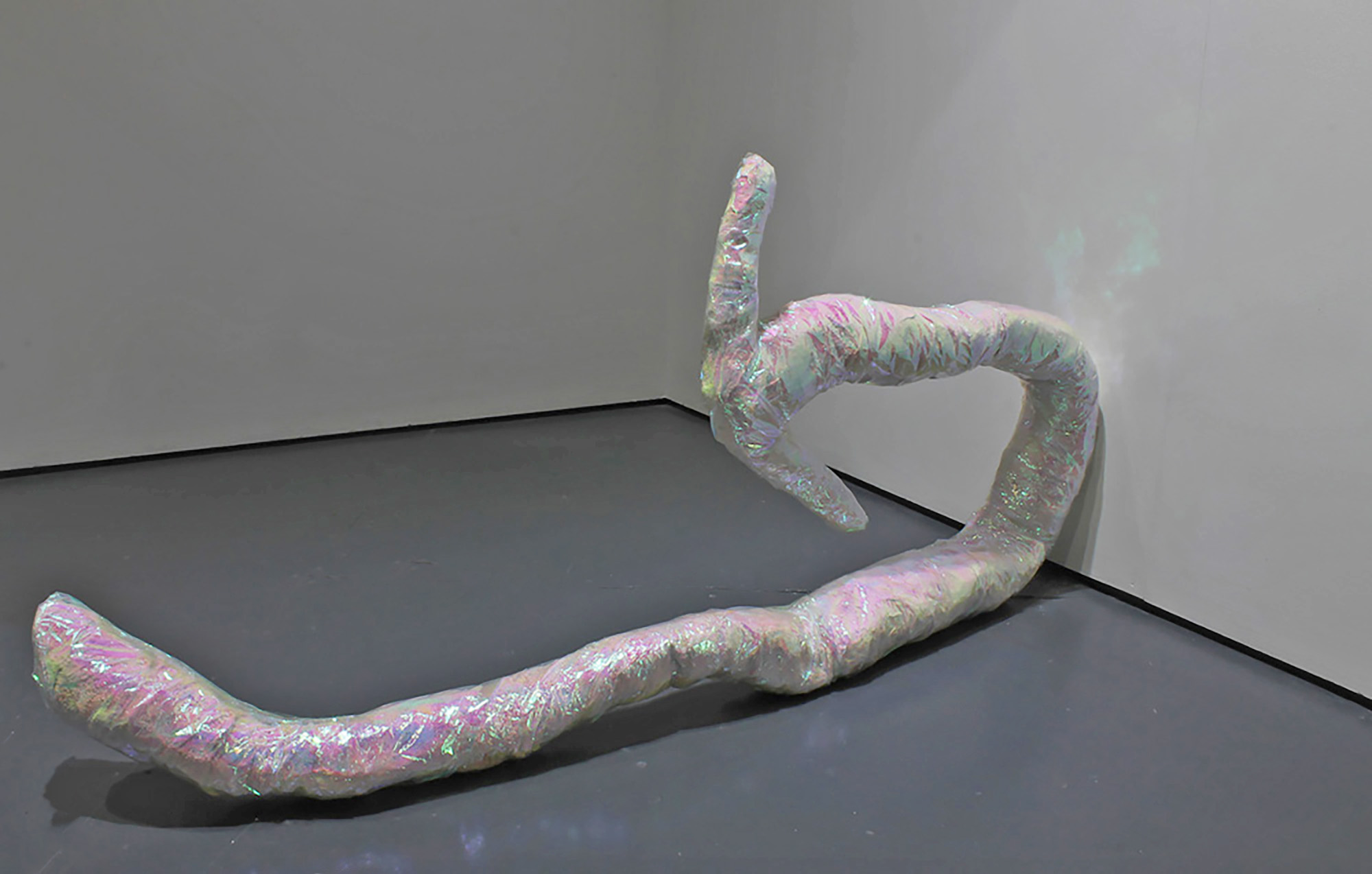 The Internet is That Way | Pippa Eason | 2017 | plaster, metal, iridescent wrapping | dimensions variable | installation view: serf Leeds | image: courtesy of the artist