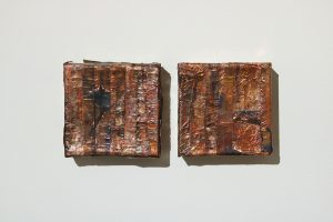 Coppoerhead I & Copperhead II | Charlie Franklin, 2019 | patinated copper tape, canvas, wooden support | 10 x 10 x 4cm each | image: Mark Devereux Projects
