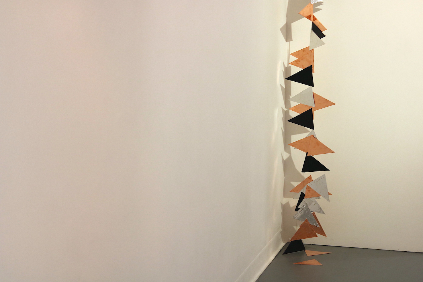 Wayfind | Charlie Franklin, 2019 | aluminium tape, copper tape, cardboard, ink, nylon | dimensions variable | image: Mark Devereux Projects